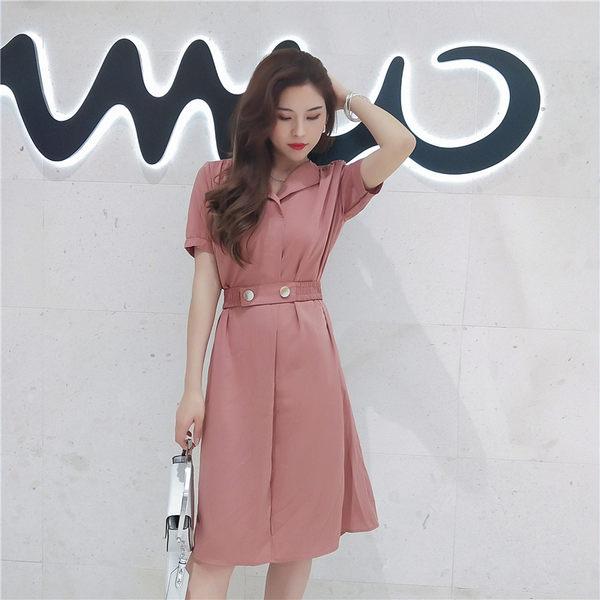 VK旗艦店 韓系時尚簡約系腰短袖洋裝
