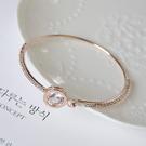 Qmigirl 日韓版百搭閃亮水晶水鑽圓鋯石手鐲甜美手鍊手飾手環【G2133】