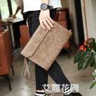 復古韓版男士手拿包潮流手包休閒商務文件包單肩斜跨包信封包潮『艾麗花園』