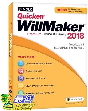 [7美國直購] 2018 amazon 亞馬遜暢銷軟體 Quicken WillMaker Premium Home & Family 2018 - Windows & Mac CD