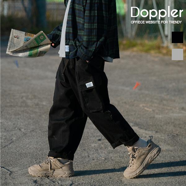 口袋寬鬆直筒休閒褲