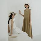 Queen Shop【01085511】後簍空鬆緊棉麻長洋裝 四色售*現+預*