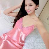 性感女睡衣裙夏絲綢誘惑內衣吊帶睡裙女士睡衣蕾絲大碼可愛吊帶裙