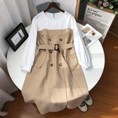 長袖洋裝 U系列秋裝2020年新款女連衣裙法式輕熟風圓領拼接女神范長袖裙子W 霓裳細軟