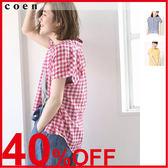 細格紋襯衫 棉質上衣 格子襯衫 黃色上衣 日本品牌【coen】