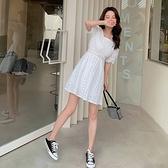 小洋裝 白色小個子連身裙小清新收腰修身氣質新款短袖仙女A字裙D353紅粉佳人
