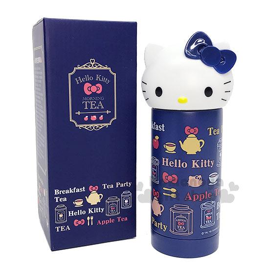 〔小禮堂〕Hello Kitty 造型不鏽鋼保溫瓶《深藍.大臉》230ml.水壺.Vivitix午茶系列 4719585-00645