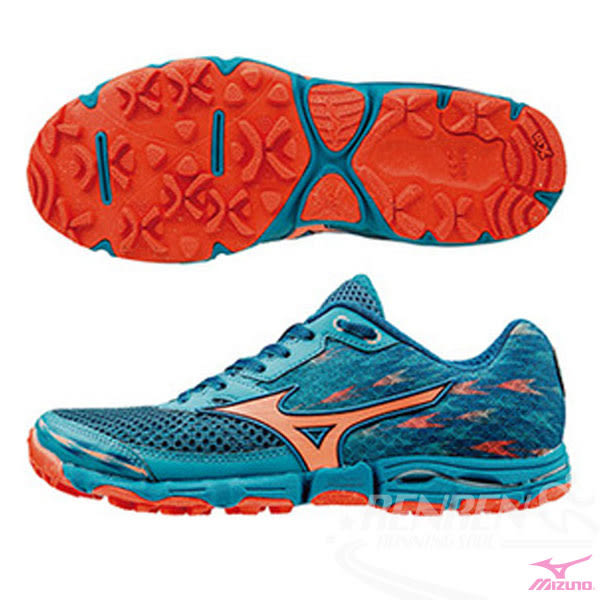 MIZUNO 美津濃  WAVE HAYATE 2 (W) 女戶外慢跑鞋 (藍綠*橘)