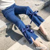 女童牛仔褲春秋新款百搭潮修身韓版中大童薄款長褲兒童喇叭褲  凱斯盾數位3c