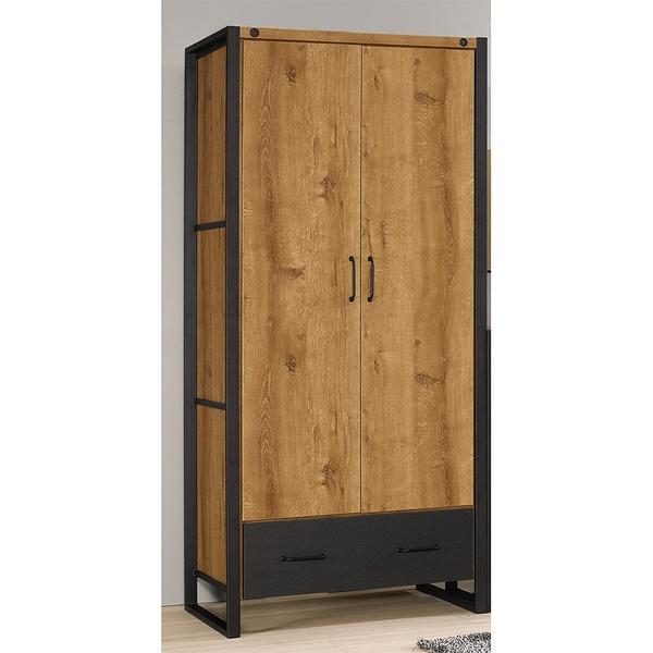 【森可家居】布朗克斯2.9尺衣櫥 8CM518-1 衣櫃 木紋質感