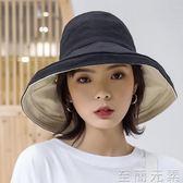 漁夫帽帽子女遮陽帽漁夫帽日系太陽帽女士防曬紫外線大沿韓版百搭出游款 至簡元素