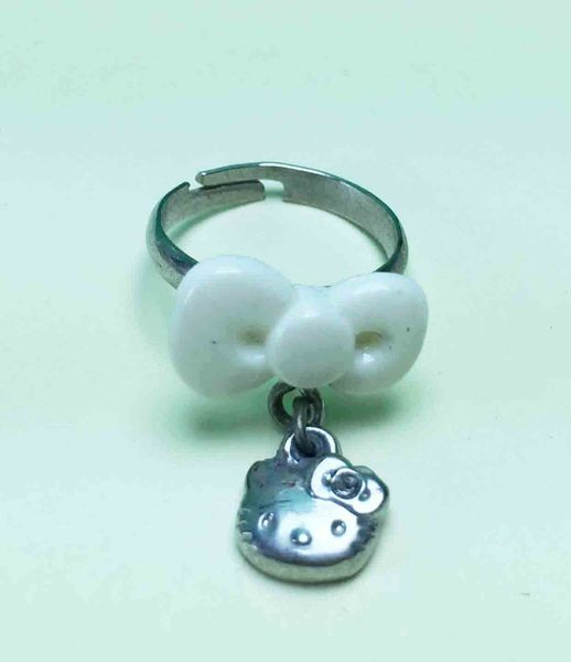 【震撼精品百貨】Hello Kitty 凱蒂貓~可調戒指-蝴蝶結-白