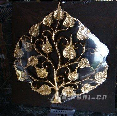 東南亞風格  進口柚木傢俱 立體金箔菩提樹壁掛-小