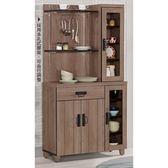 【森可家居】哈珀3尺功能餐櫃(上+下座) 右櫃 8CM904-1 收納廚房櫃  碗盤碟櫃 木紋質感 北歐風