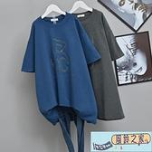 款鬆大碼韓版短袖t恤女 卡通小熊 洋氣打底衫遮肚百搭T恤 純色 中長款 【風鈴之家】