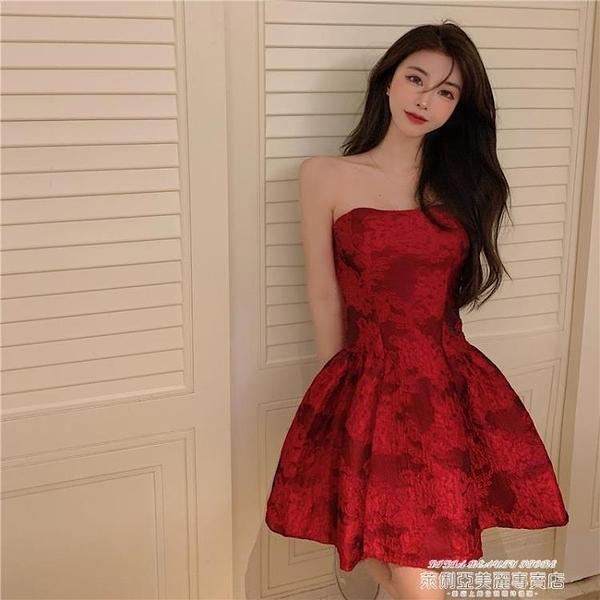 小禮服 復古紅色抹胸連身裙女夏季2021年新款裙子法式小眾名媛氣質禮服裙 夏季新品