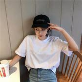 T恤 巨袖女 復古白色短袖寬鬆純色2018網紅同款上衣百搭韓版半袖潮