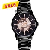 【挑戰最低價】RELAX TIME RT62系列 人動電能地球腕錶-玫塊金x黑/45mm RT-62K-2
