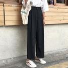 2020春季新款韓版黑色垂墜感直筒褲寬鬆高腰西裝褲休閒長褲女學生 快速出貨