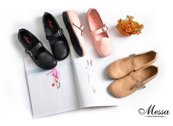圓頭包鞋-Messa米莎 MIT舒適柔軟魔鬼氈釦帶內真皮圓頭包鞋-黑色