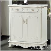 【水晶晶家具】茱蒂3*3.5呎白色古典雙抽鞋櫃~~預計七月底到貨 BL8516-1