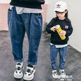 女童牛仔褲加絨加厚洋氣長褲子寬鬆裝寶寶棉褲潮2-8歲 歐韓時代
