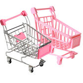 【BlueCat】迷你大賣場粉色塑膠不鏽鋼推車 置物籃