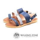 【南紡購物中心】WALKING ZONE (女)三帶同糖果色涼鞋-藍(另有卡其)