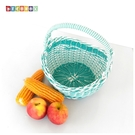 DecoBox圓形蒂芬妮藍塑膠藤小水果籃...