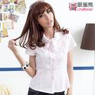 襯衫--休閒正式皆可-細條紋蝴蝶結領鑽釦...