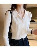 針織開衫針織開衫女2021秋季新款時尚洋氣翻領polo衫寬鬆外搭薄款毛衣外套 韓國時尚