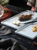 家用陶瓷中式西餐盤手繪長方形盤沙拉壽司盤托盤魚盤酒店盤子茶盤