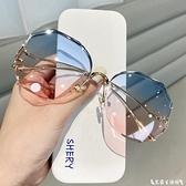 墨鏡 2021新款無邊框切邊墨鏡女韓版潮網紅圓臉大框顯瘦防紫外線太陽鏡 艾家