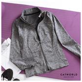 Catworld 雜訊紋立領拇指袖運動外套【15003731】‧S/M/L