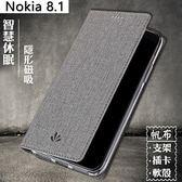 簡約十字紋 諾基亞 Nokia 8.1 手機殼 插卡支架 Nokia X7 手機套 皮套 帆布手機套 側翻皮套 保護殼