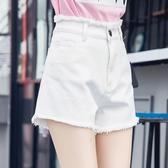 高腰牛仔短褲女學生毛邊寬鬆褲子加大碼