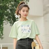短袖T恤-棕櫚樹印花寬鬆圓領女上衣2色73xn9[巴黎精品]