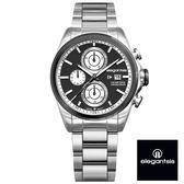 ELEGANTSIS 超大錶面強悍運動三眼黑面銀鋼錶 46mm ELJT42R-6B09MA 公司貨 | 名人鐘錶高雄門市