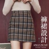短裙 Space Picnic|格紋毛呢A字褲裙(現+預)【C19092075】