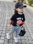 女童2020春秋裝新款韓版小童女寶寶卡通T恤長袖兒童假兩件打底衫 貝芙莉