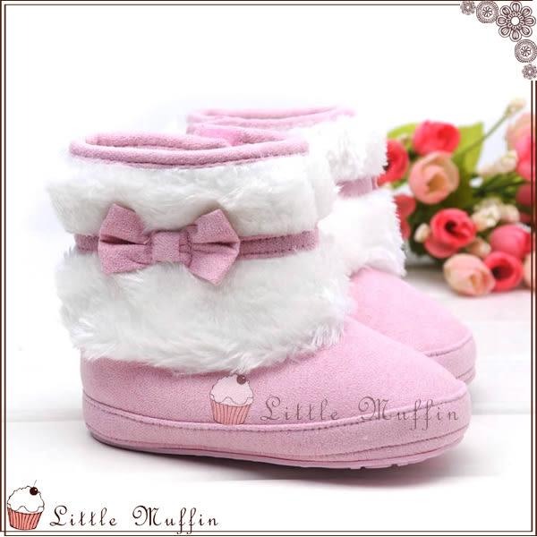 優雅蝴蝶結毛絨絨超保暖雪靴 止滑膠底學步鞋 可外出
