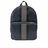【MICHAEL KORS】黑灰條紋硬殼皮革後背包(大)(深藍) 37H7LWRB3T NAVY