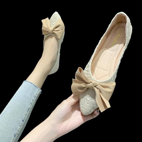小香風尖頭單鞋女平底2021春季百搭平跟蝴蝶結淺口奶奶鞋軟底瓢鞋 果果輕時尚