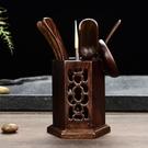 茶具配件-瓷牌茗茶道六君子套裝黑檀木實木竹功夫茶藝組合茶盤擺件 限時8折