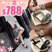 任選2雙788涼鞋韓版涼鞋一字帶氣質百搭楔型跟高跟涼鞋【02S8699】