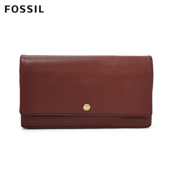 FOSSIL AUBREY 酒紅色金釦設計多功能零錢長夾 SL7811227
