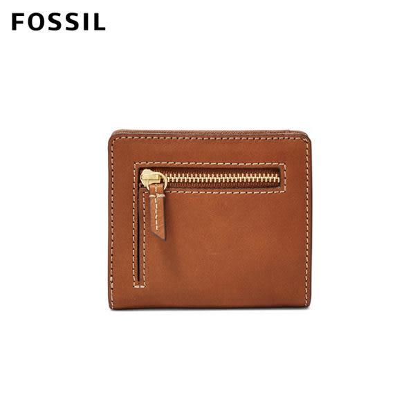 FOSSIL Emma 復古咖啡色真皮RFID迷你短夾 SL7150200