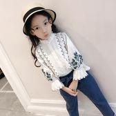 女童襯衫長袖純棉中大童上衣洋氣小衫