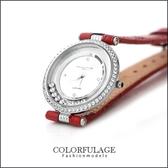 Valentino范倫鐵諾 奢華滾鑽珍珠貝真皮手錶腕錶 名媛單品【NE909】原廠正品