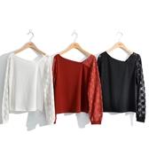 秋冬新品[H2O]不對稱斜領拼接蕾絲袖針織上衣 - 磚紅/黑/米白色 #0651015